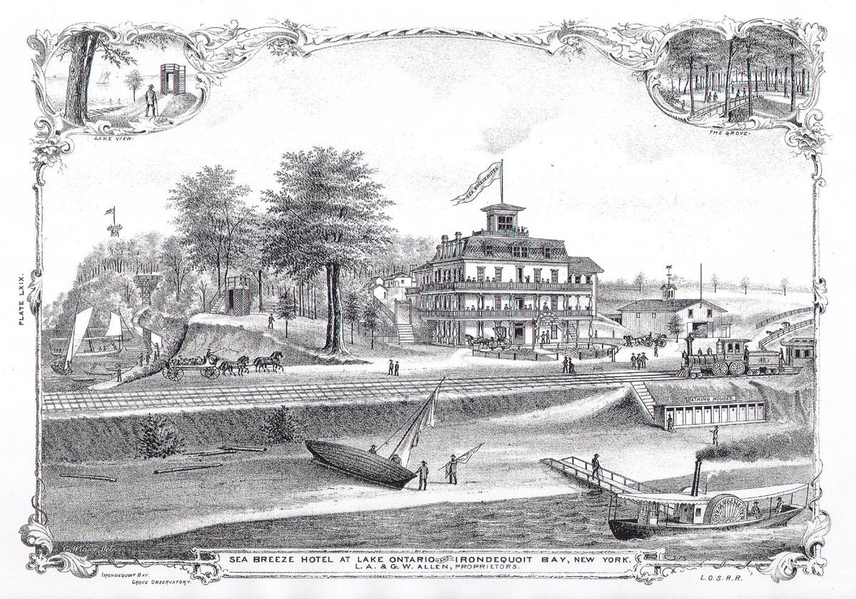 Old illustration of Seabreeze Hotel at Lake Ontario at Irondequoit Bay, New York from 1879.