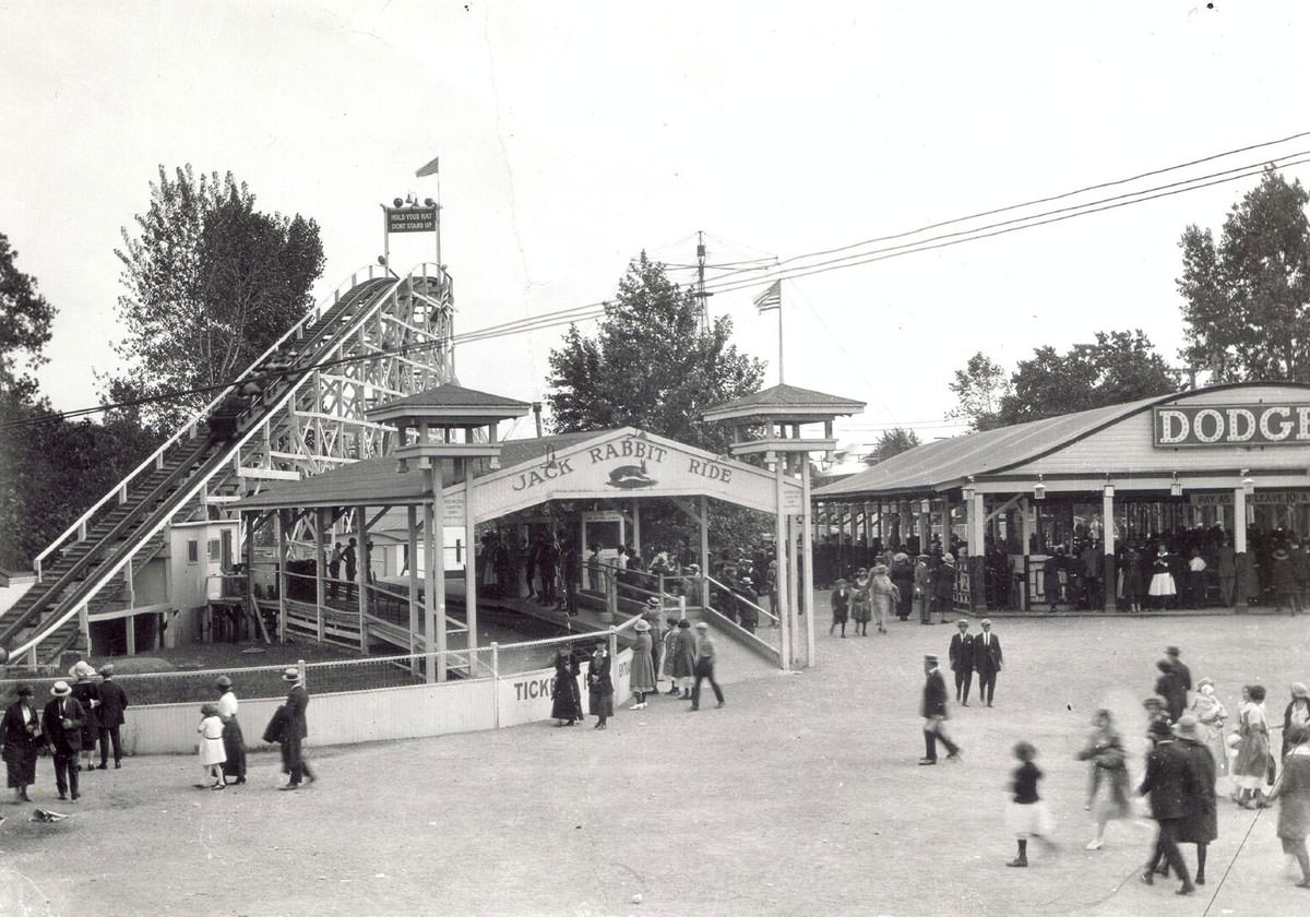 Black and white photo of Jack Rabbit Ride area of Seabreeze in 1920.
