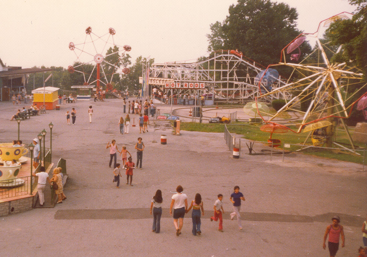 Photograph of Seabreeze in 1970. Jack Rabbit rollercoaster is still featured.