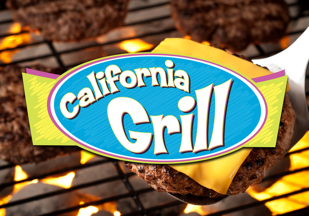 California Grill logo in front of cheeseburger on a grill.