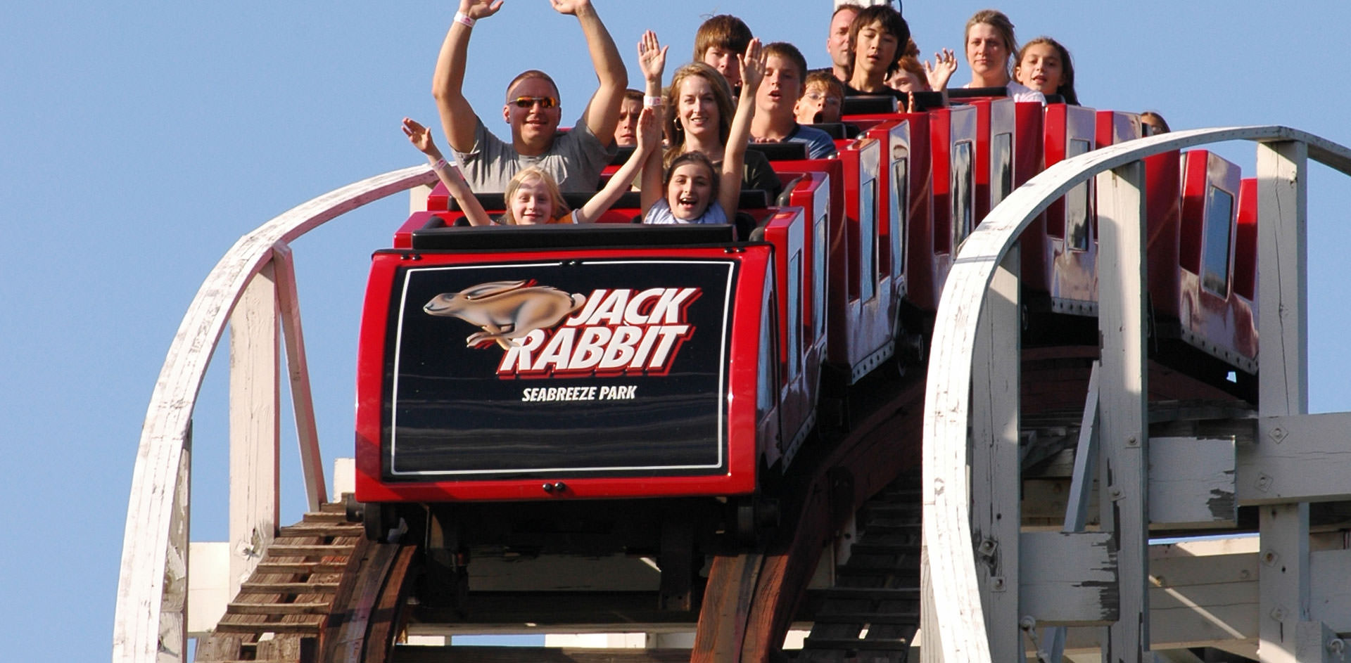 People riding the Jack Rabbit roller coaster ride