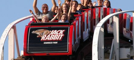 People riding the Jack Rabbit roller coaster ride.