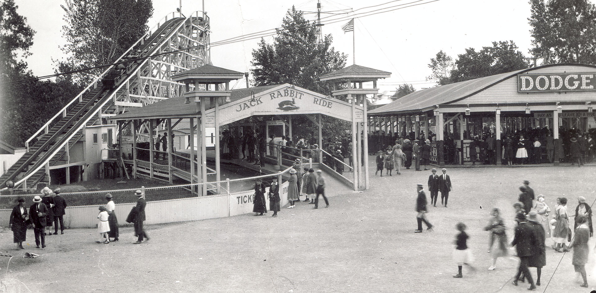 Old black and white photograph of Seabreeze Jack Rabbit roller coaster ride in the 1920s.