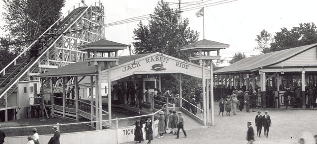Old black and white photograph of Seabreeze Jack Rabbit roller coaster ride in the early 20th century.