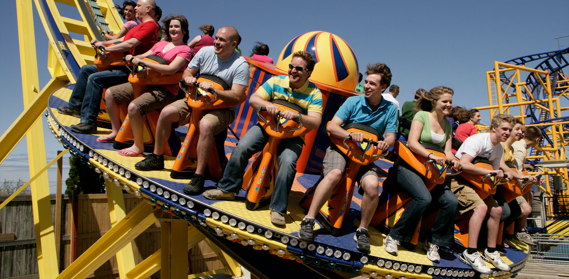 People riding the Whirlwind roller coaster ride.