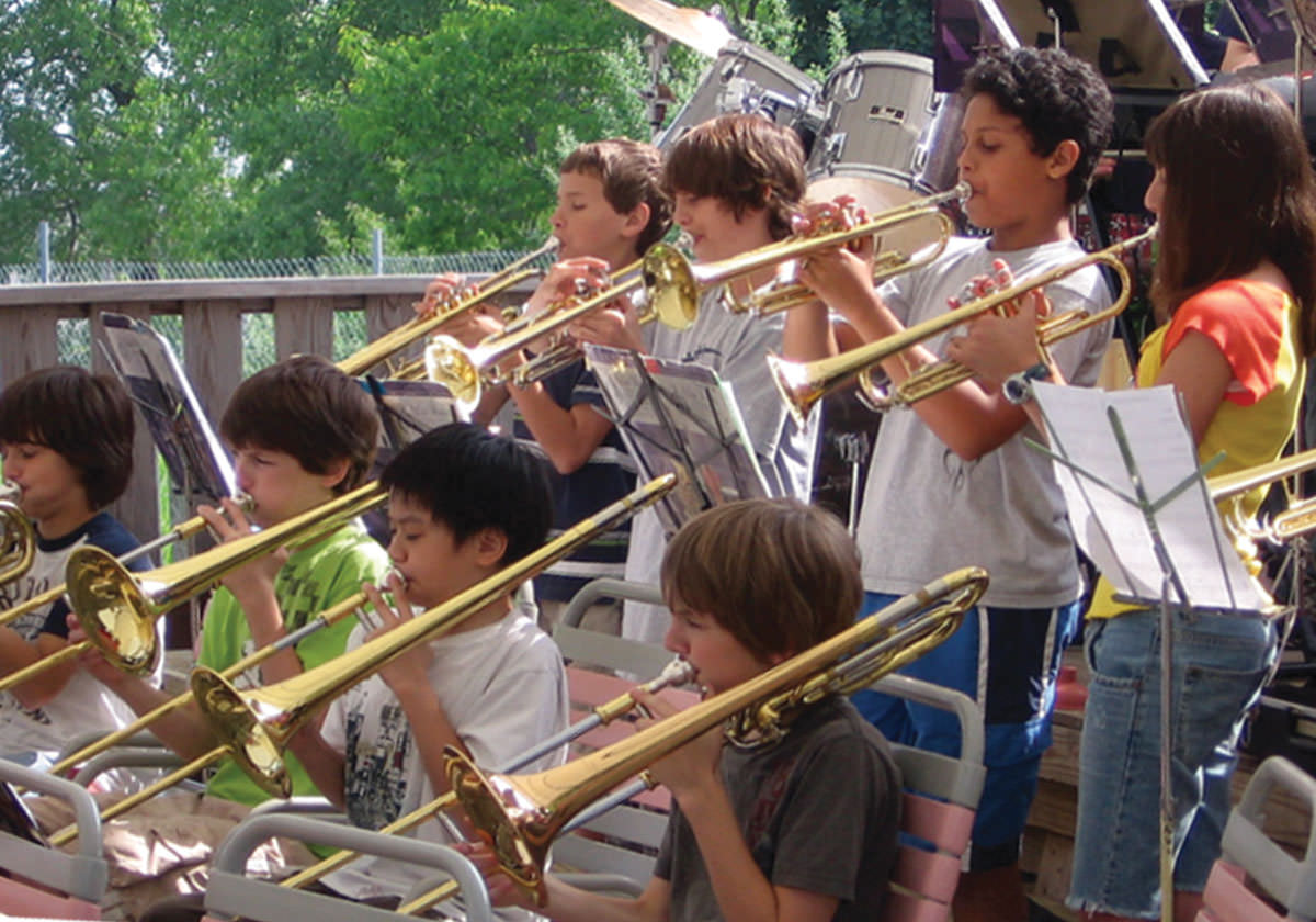 Children's brass section of band performing at Seabreeze.
