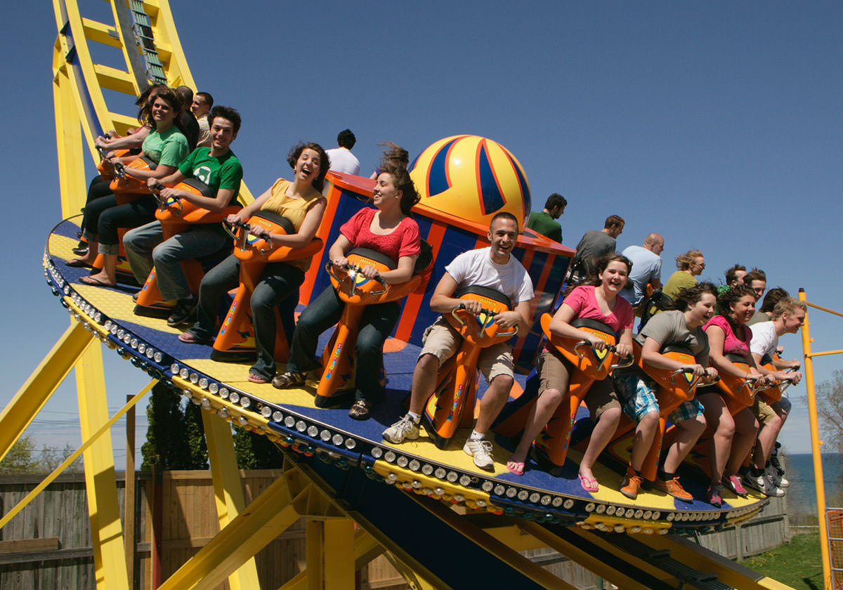 Amused riders on the Revolutoin 360 ride.