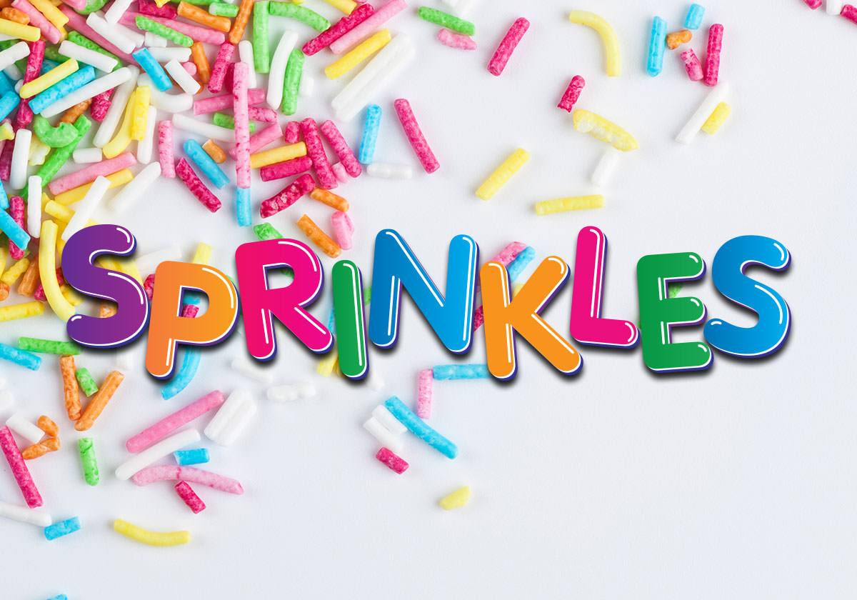 Sprinkles logo with rainbow sprinkles on a white background.