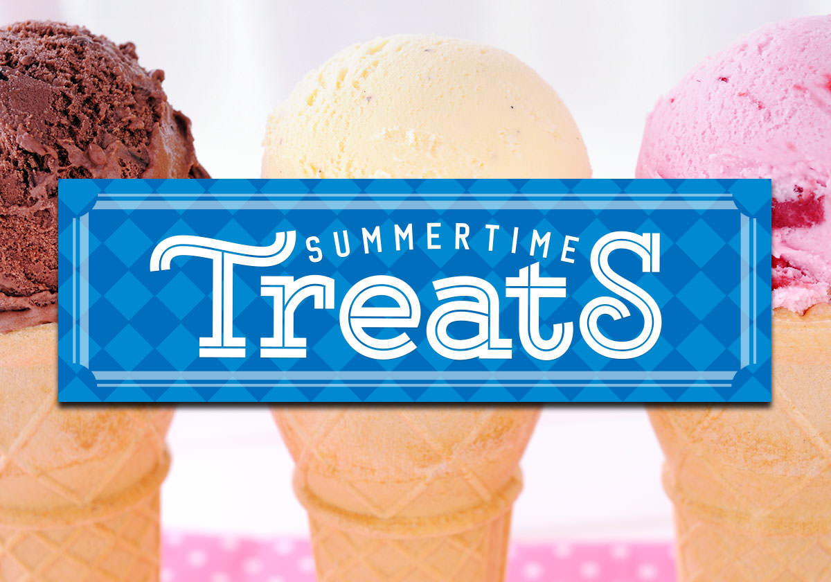 Summertime Treats logo in front of ice cream cones.