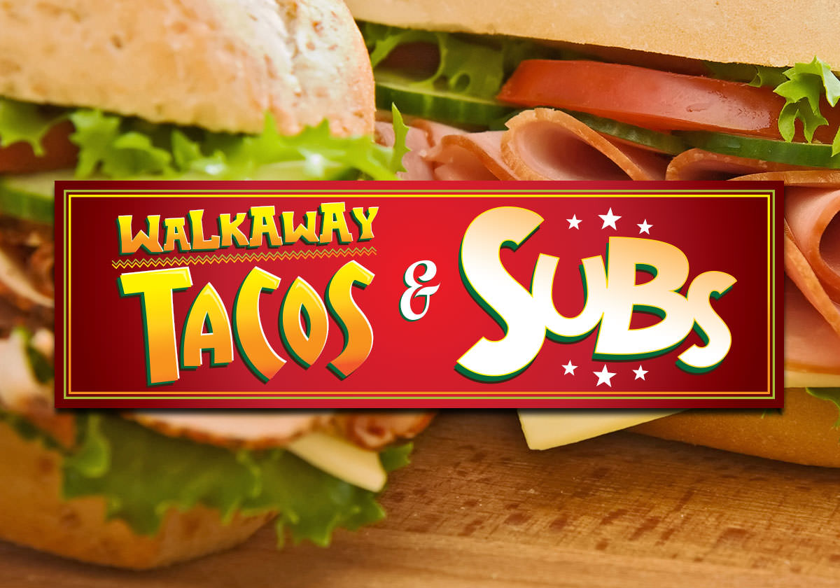 Walkaway Tacos & Subs logo in front of picture of submarine sandwiches.