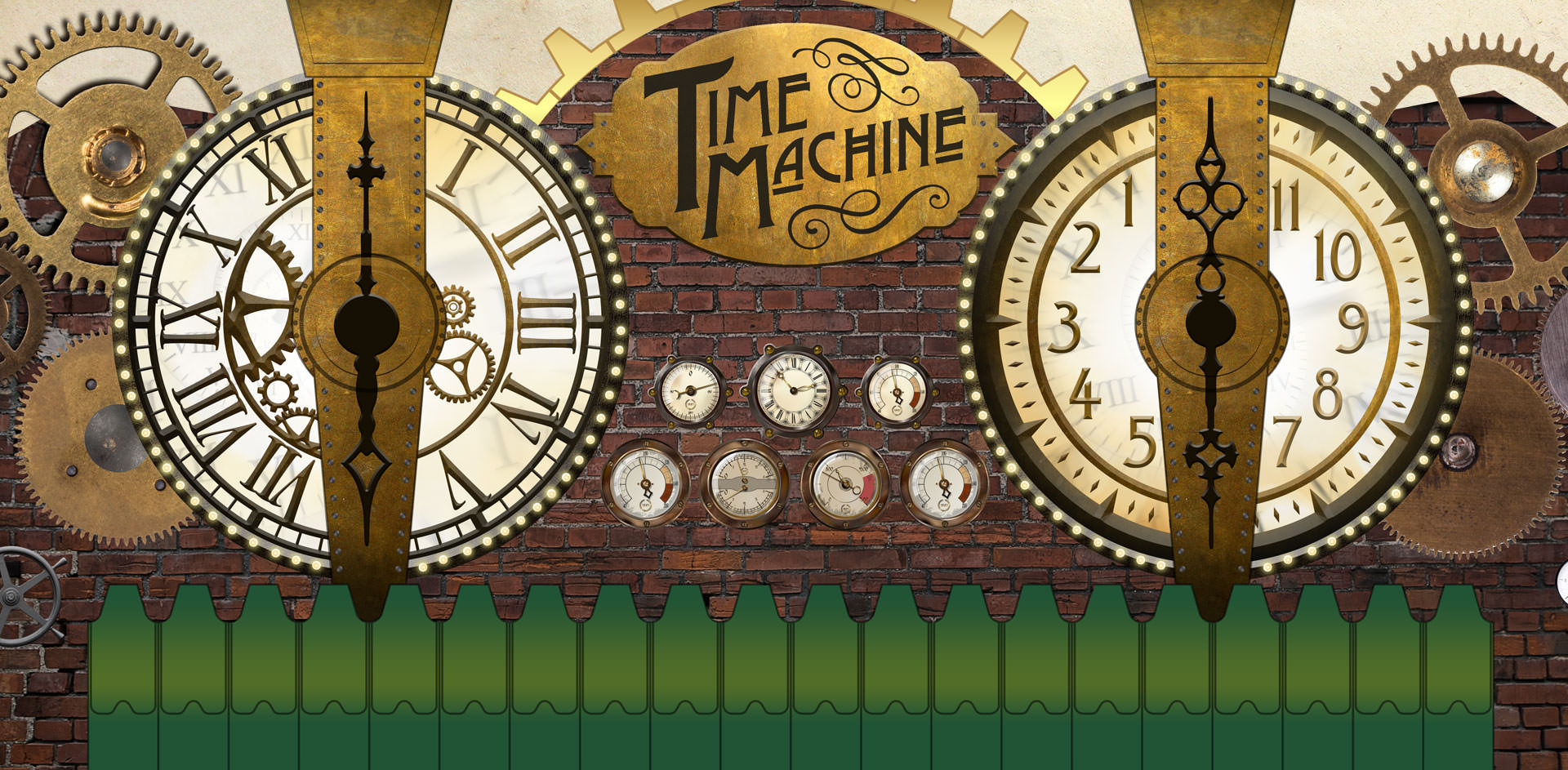 "Time Machine Signage - Features two giant clocks with giant hand wheels, brass gear wheels, and embossed stamped effect on the ""Time Machine"" lettering."