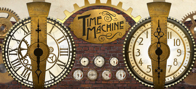 Time Machine Signage - Features two giant clocks with giant hand wheels, brass gear wheels, and embossed stamped effect on the