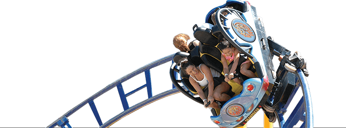 People riding on Whirlwind Rollercoaster